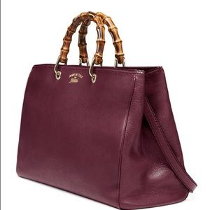 Gucci Bamboo LG Shopper Tote in Burgundy Leather